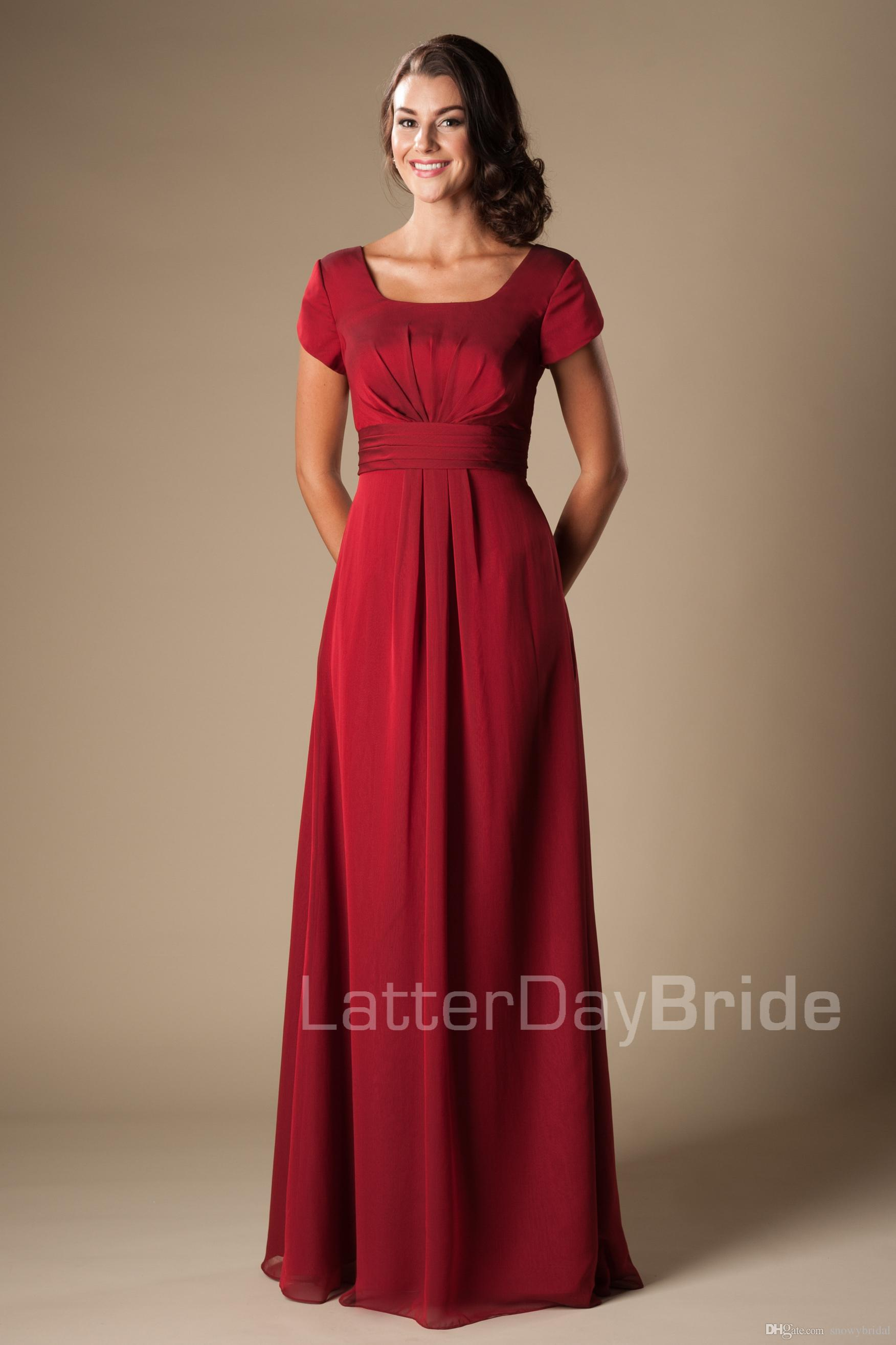 Summer red chiffon modest bridesmaid dresses with short sleeves summer red chiffon modest bridesmaid dresses with short sleeves long floor a line temple wedding party dresses bridesmaid robes custom made modest ombrellifo Image collections