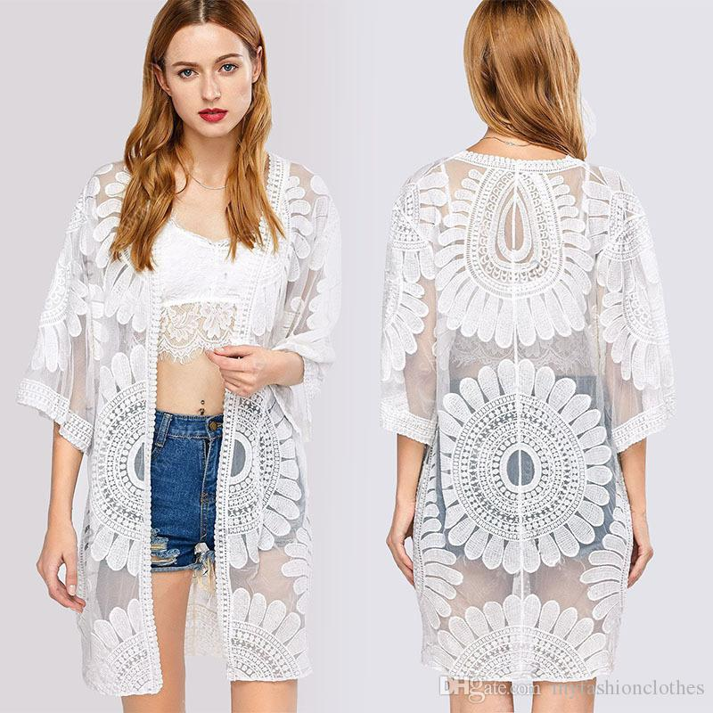 Pareo Beach Cover Up Floral Embroidery Bikini Cover Up Swimwear ...