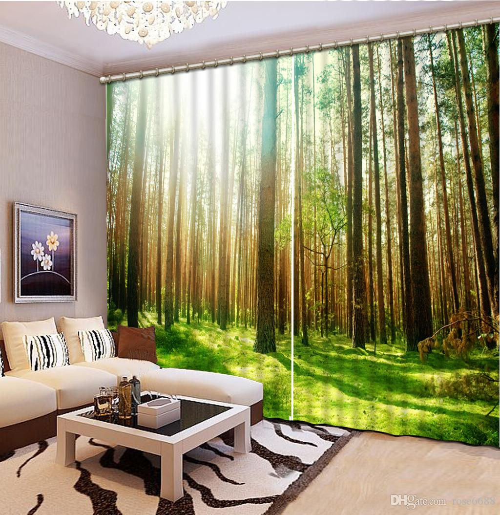 2017 Home Decor Living Room Natural Art Modern Living Room Sunshine Curtains Green Forest Curtain Window Room From Rose6688 199 4 Dhgate Com