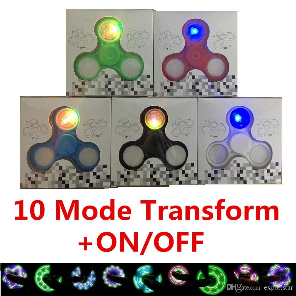 En Stock + 10 Mode LED spinner à main Avec Switch Hand Spinners Fidget Spinner A