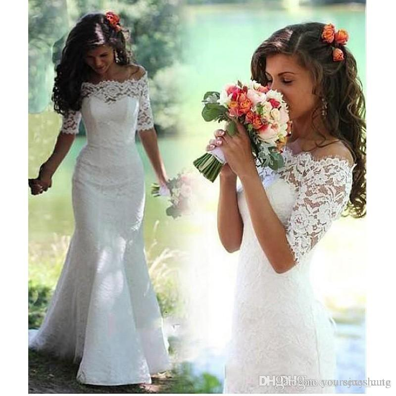 Discount elegant lace mermaid wedding dresses bateau neck for Mermaid wedding dresses under 500