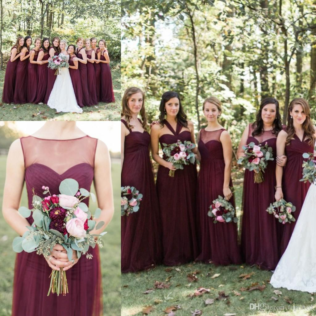 Burgundy 2017 Country Bridesmaid Dresses Long Tulle Sheer