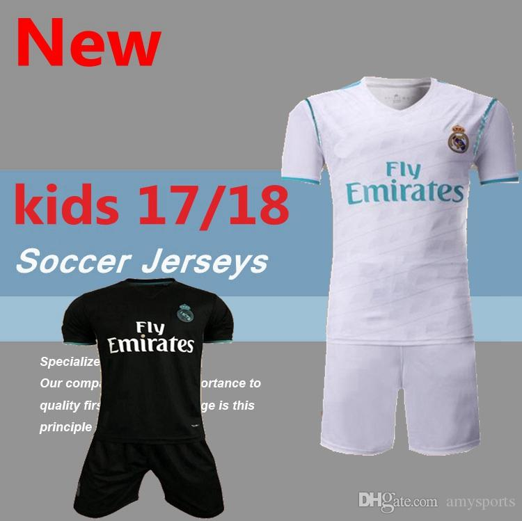 2017/2018 enfants Real madrid soccer Jerseys New Font 17/18 RONALDO blanc Noir J