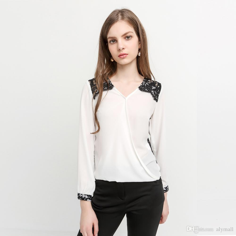 White Lace Hollow Chic Female Blouse Shirt Casual Loose Office ...