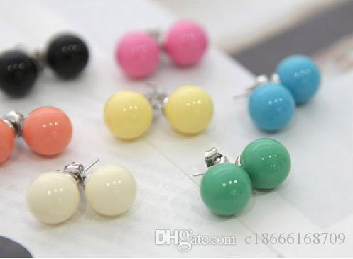 Mixed Lots Pearl Stud Earrings Lovely candy Couleurs Hot Sale Big Ball Boucles d