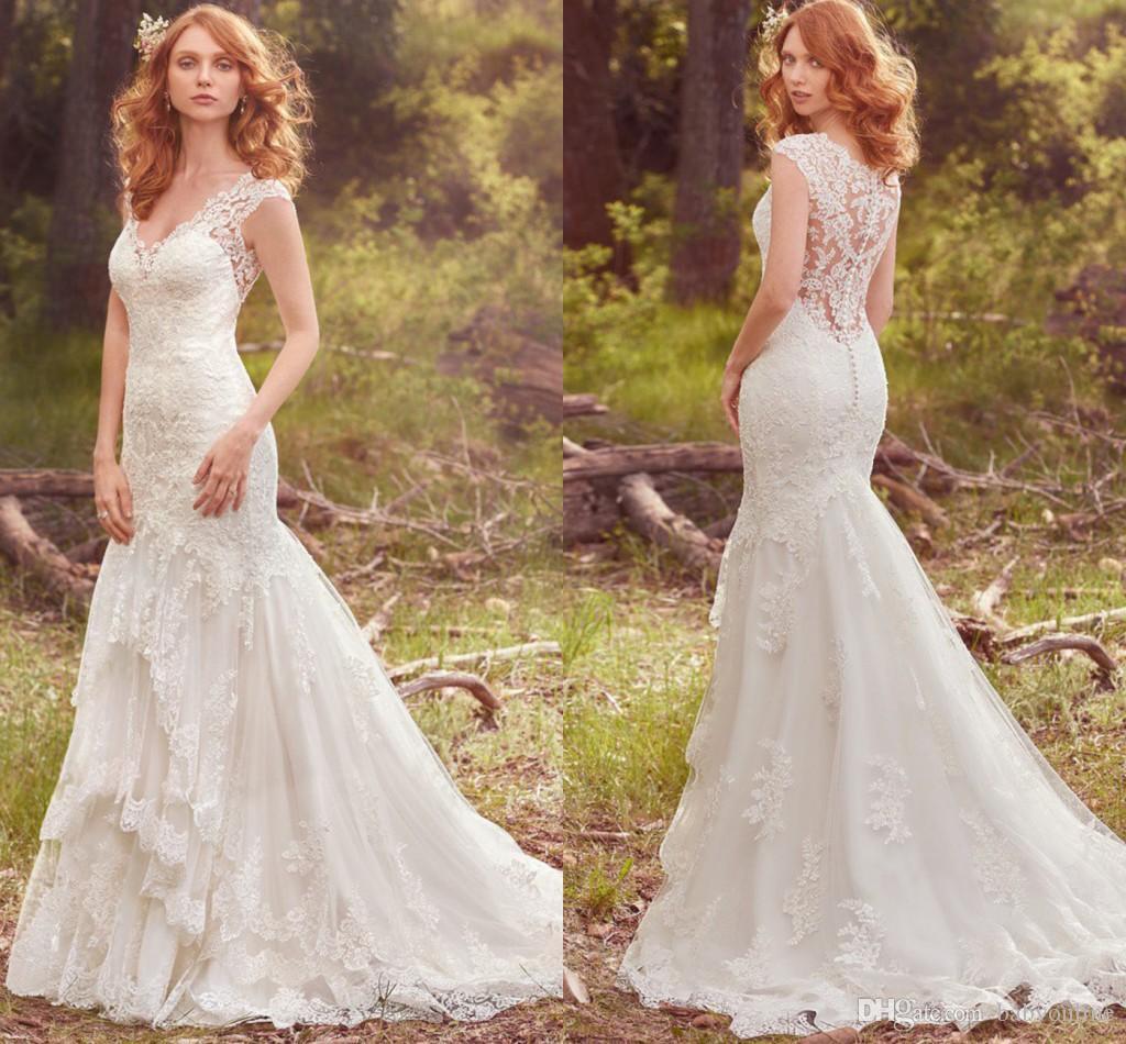 2017 Elegant New Full Lace Mermaid Wedding Dresses V Neck
