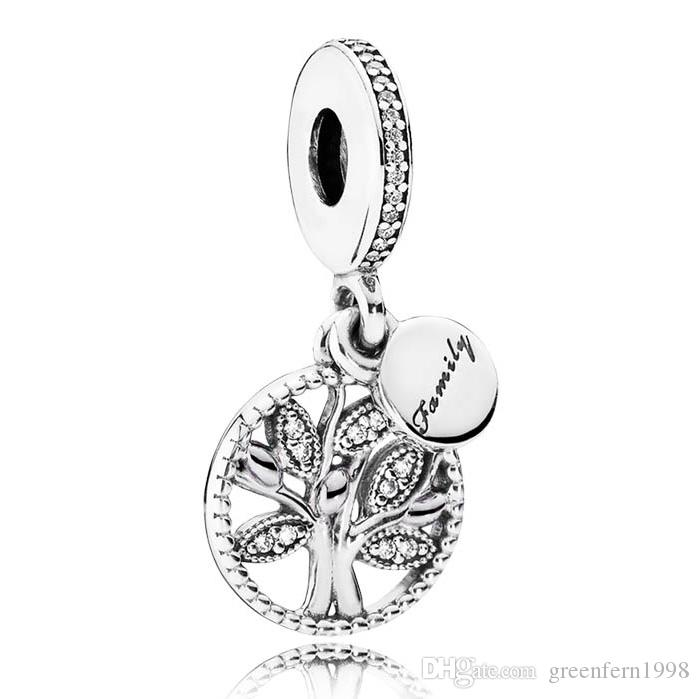 925 Sterling Silver Bead Charm Family Heritage Arbre De Vie Avec Crystal Pendent