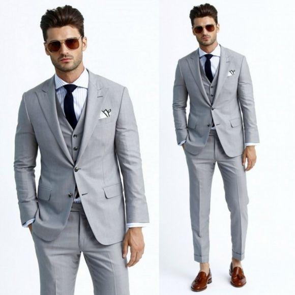 2017 New Best Men Formal Wedding Suit Bridegroom Businessman Gray Mens Suits Peaked Lapel