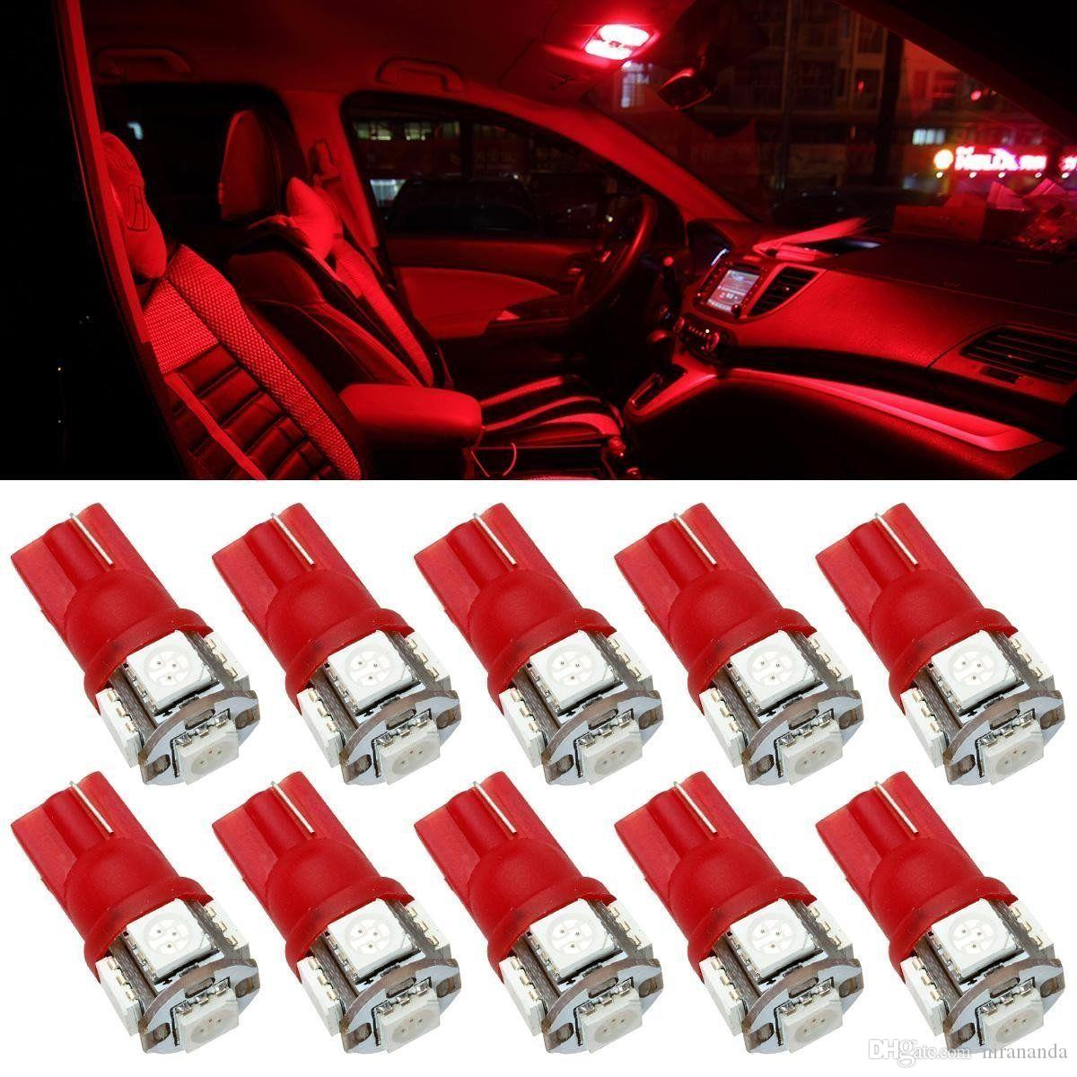 Red Led Bulbs Car Trunk Interior Dome Map Lights 5 5050 Smd 12v T10 Wedge 194 168 W5w 158 2886x