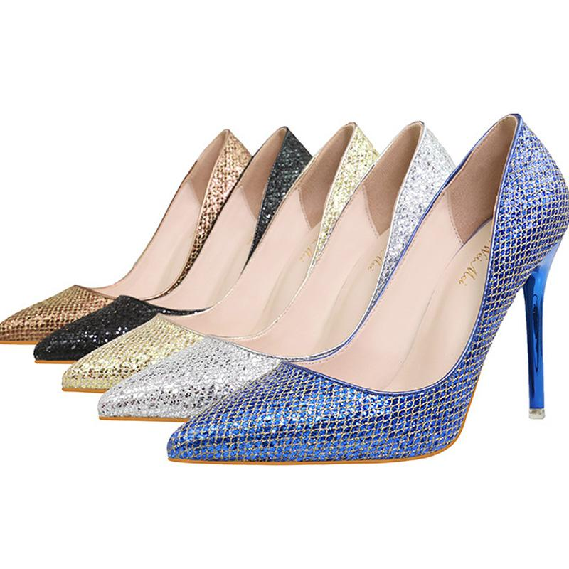 Wholesale New Women Dress Shoes High Heels Wedding Shoes Sequins ...