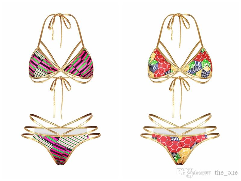 2017 Gold Color African Print Bikini Set For Women High Waisted Hollow Out Bandage Swimwear Cut Sexy Strappy Swimsuit