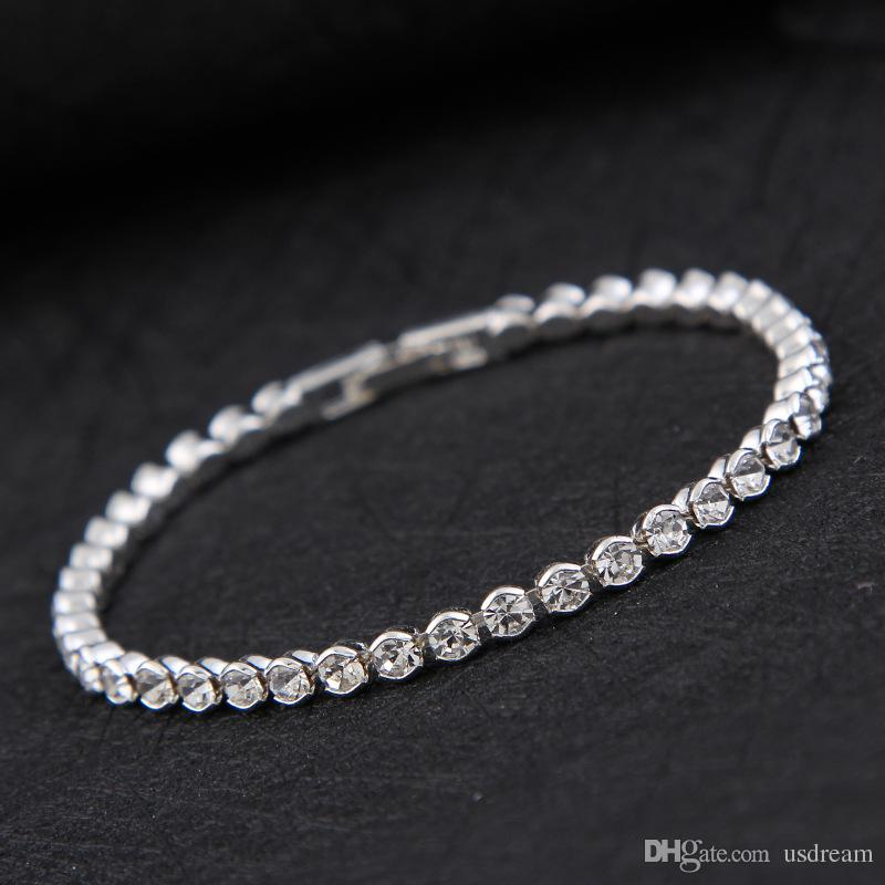 Simple Diamond Crystal Bracelet Silver Gold Plated