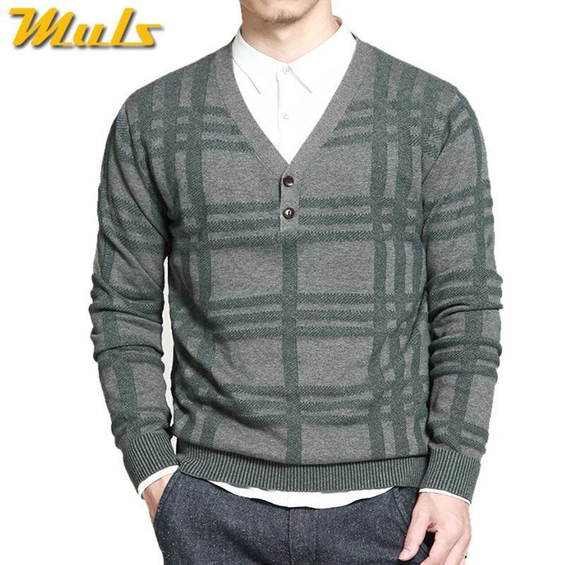 Wholesale- Muls 100% Cotton Sweater Men Pullover Plaid Pattern ...