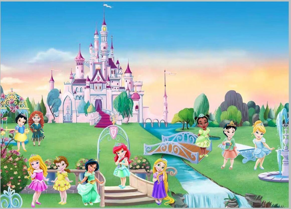 2018 7x5ft Green Garden Park Castle Princess Family Group