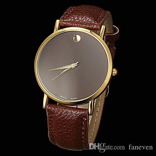 White dial swiss watches fashion geneva minimalism leather for Minimal art wrist watch