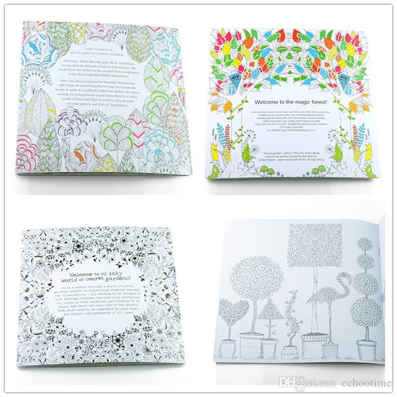 PrettyBaby Secret Garden Coloring Book Painting Drawing 24 Pages Animal Kingdom Enchanted Forest Relieve Stress For Children Adult Online With