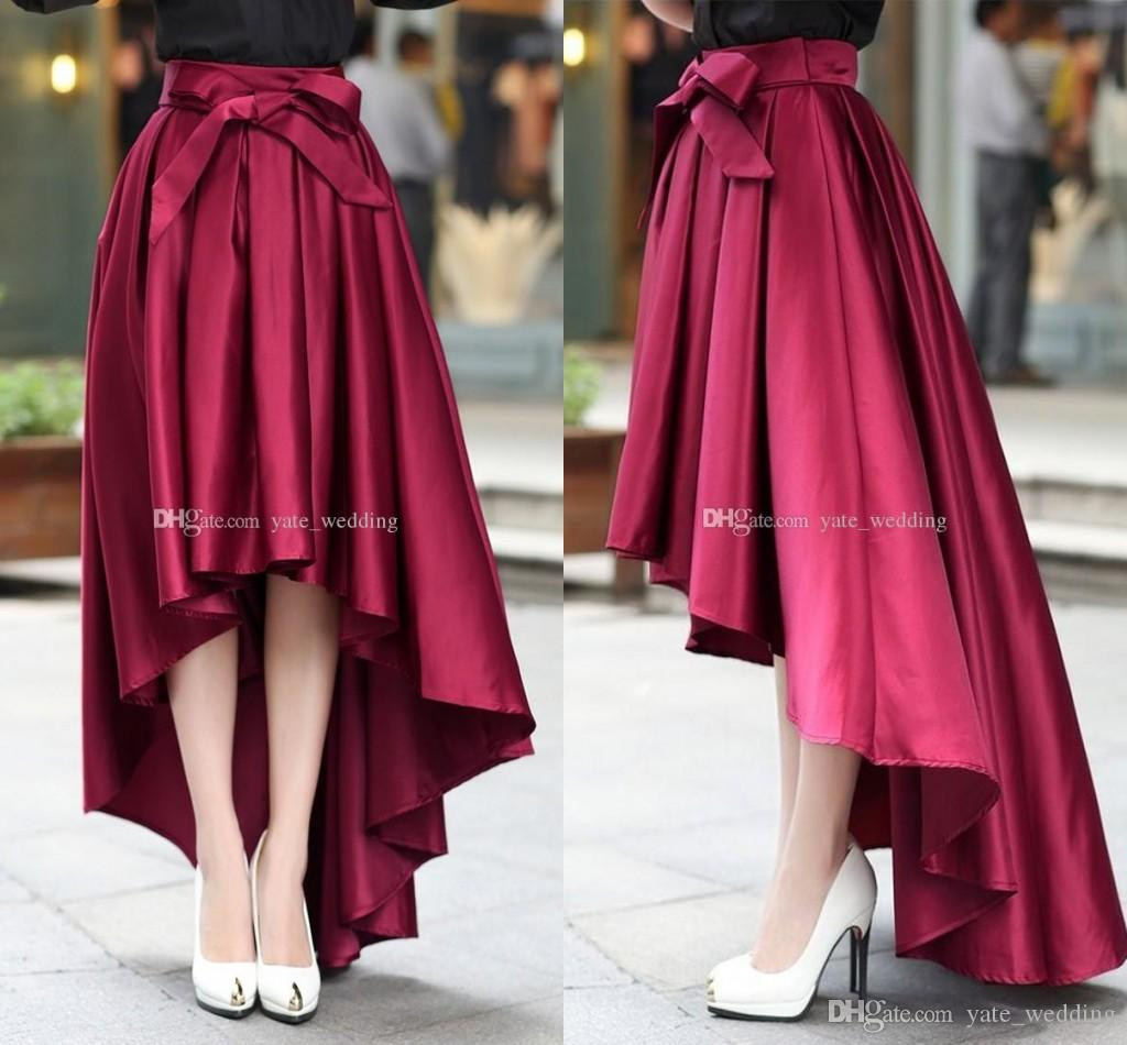 Fashion Burgundy High Low Women Skirts High Waisted Ruched Satin ...
