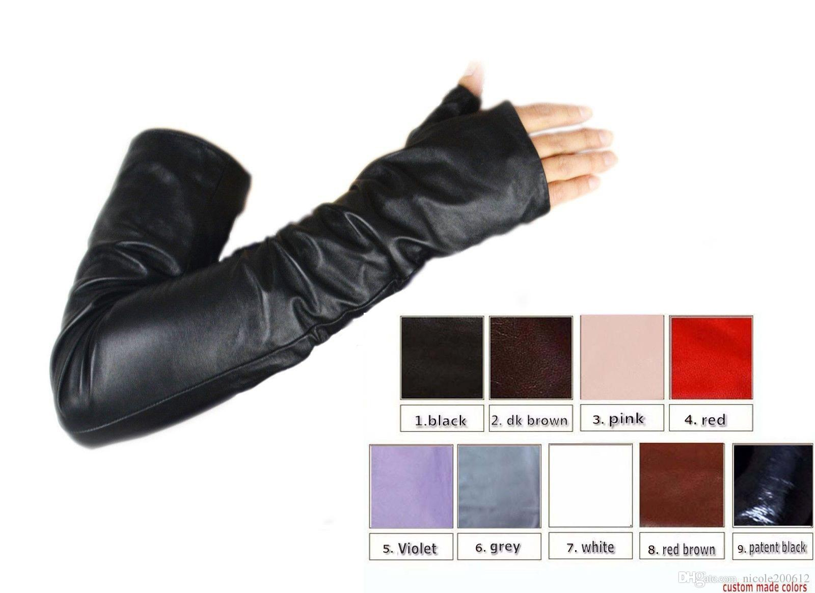 Black leather gloves with coloured fingers - Custom Made 30cm To 80cm Long No Finger Style Top Quality Real Leather Gloves 9