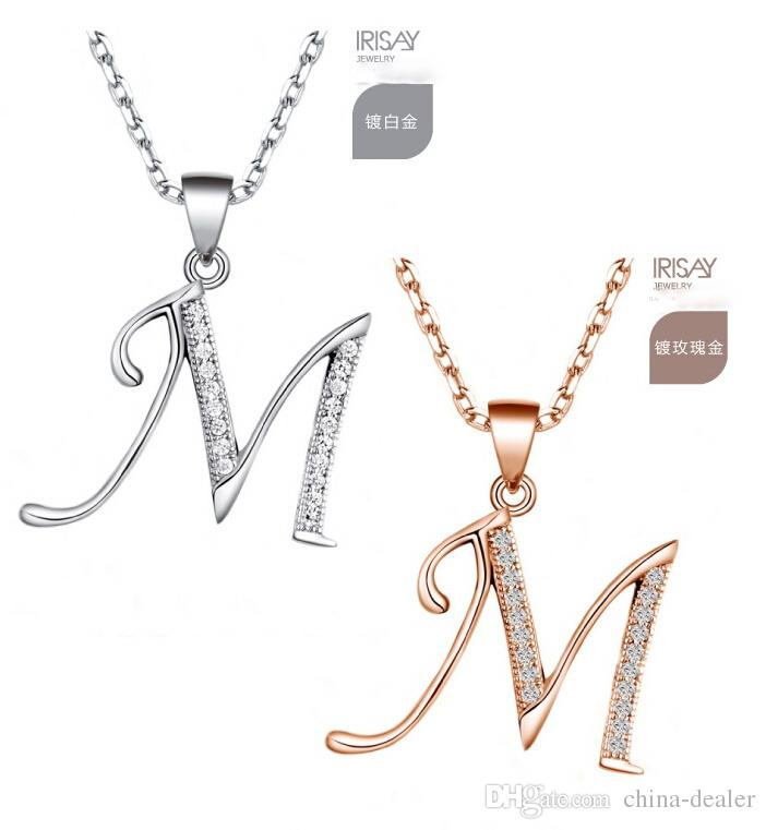 Belle 925 Sterling Silver / rose or-homme fait main diamant initial collier pend