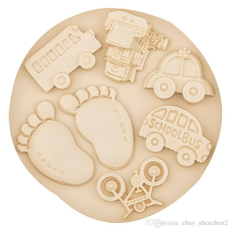 2017 bus car bicycle train baby feet footprint fondant for Baby footprints cake decoration