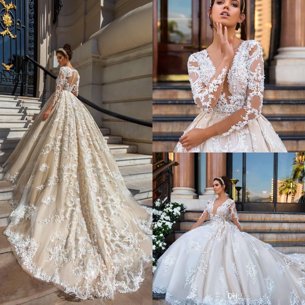 2017 New Design Sexy Deep V Neck ALine Wedding Dresses Sheer
