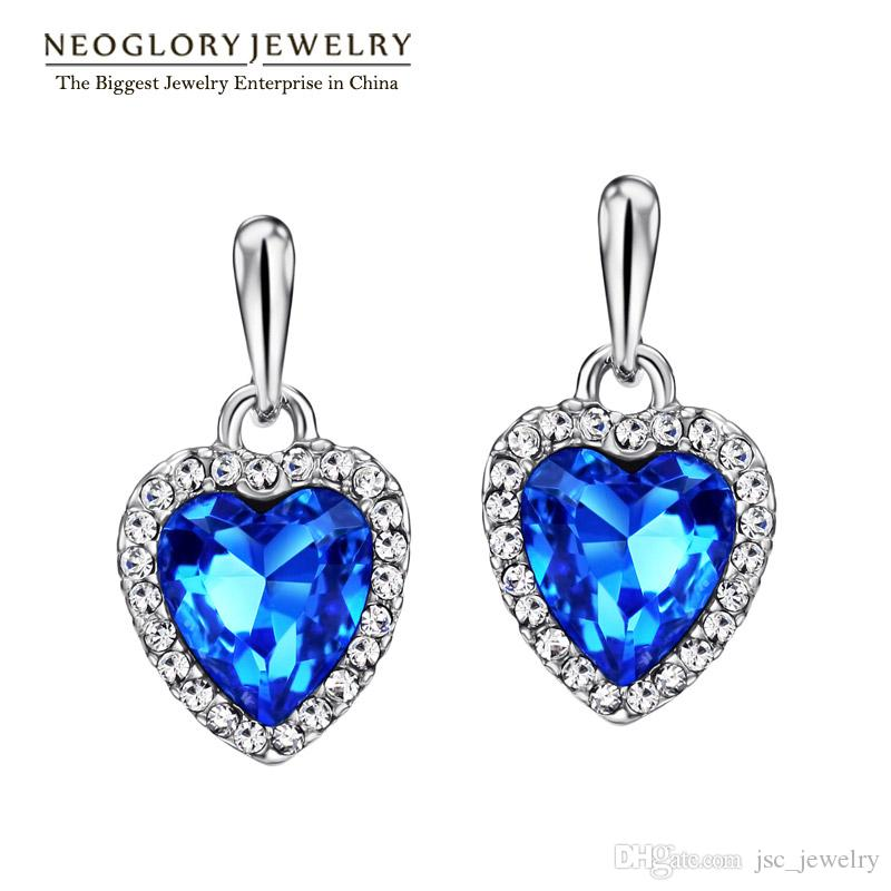 Blue Ocean Heart Love MADE WITH SWAROVSKI ELEMENTS Crystal Rhinestone Dangle Bou