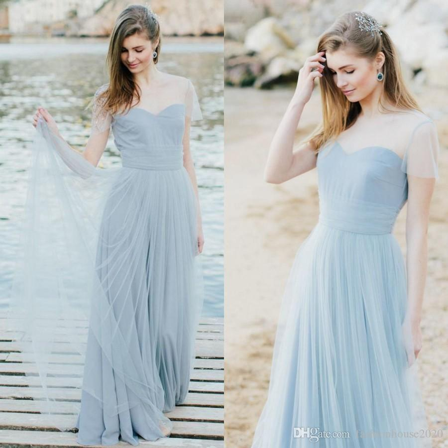Teal light blue tulle beach bridesmaid dresses long sheer cap teal light blue tulle beach bridesmaid dresses long sheer cap sleeves cheap wedding guest dress country maid of honor party gowns bridesmaid dresses beach ombrellifo Choice Image