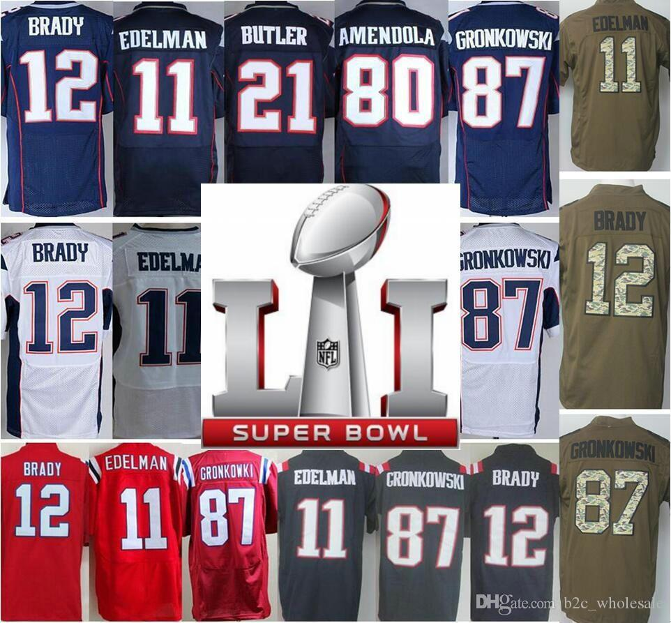 Hommes Super Bowl 2017 SuperBowl LI Rembourrage 11 Julian Edelman 12 Tom Brady M