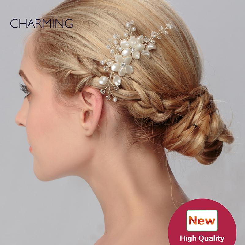 Hair Clips Unique Accessories Bridal Tiaras Crystals Pearls Wedding Cheap Flower Vines