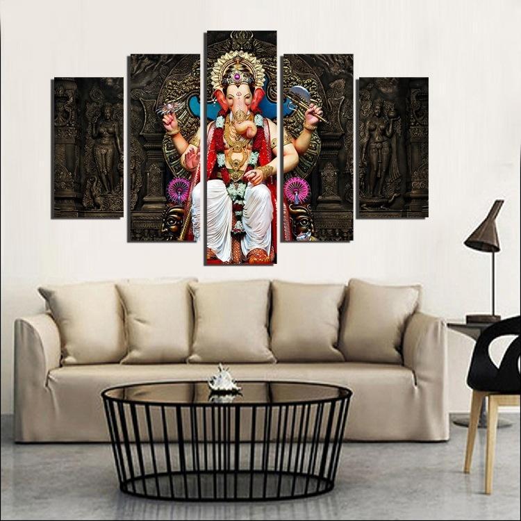 No Frame 5 Panel Ganesh Elephant God Painting Buddha Mandala Wall Art Poster Prints
