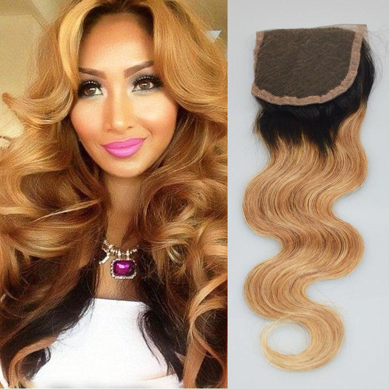 Ombre Lace Closure Body Wave Honey Blonde T1b 27 Two Tone