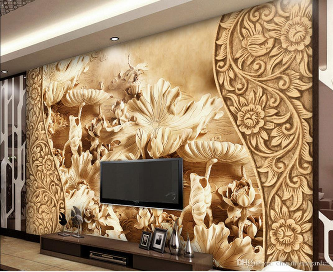 Wood Wall Mural chinese wind flower lotus leaf wood carving tv background wall