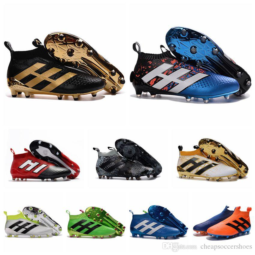 Football Shoes ace 16 / 17 + PureControl FG Soccer Cleats For Men Football Boots Laceless messi Boots ACE 17.1 high top Soccer Shoes