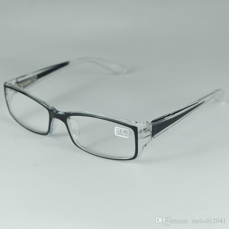 good quality reading glasses plastic frame myopia from 100 to 300 hyperopia from 100 to 400 transparent black spring hinge