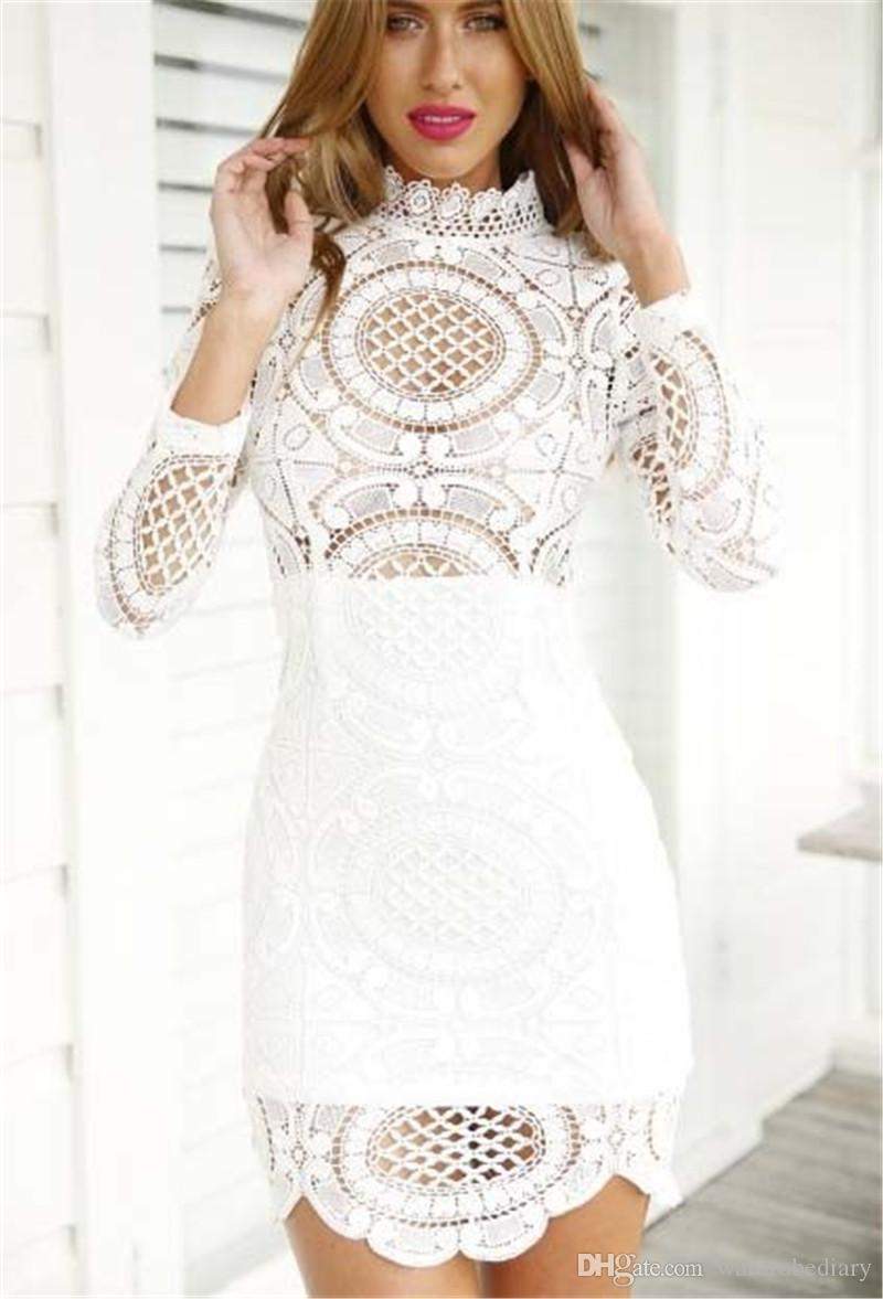 High Quality Casual Dresses Women Lace Dress Ladies White Long ...