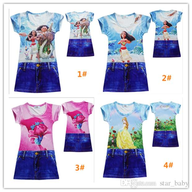Newly 4Designs Trolls Robe pour fille Moana Polyester Robe en une seule pièce Be