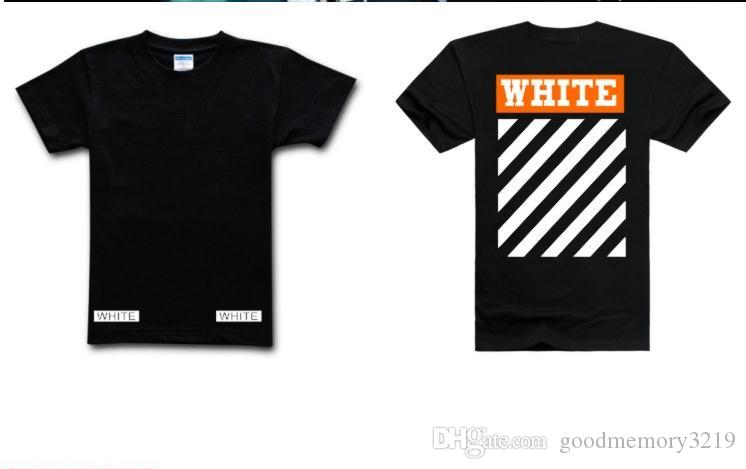 2017 High Quality OFF WHITE T Shirts Homme Femme Cotton Stripe Tee Short Sleeve