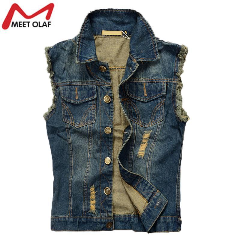2017 Wholesale Hot Men Denim Vest Hole Sleeveless Jean