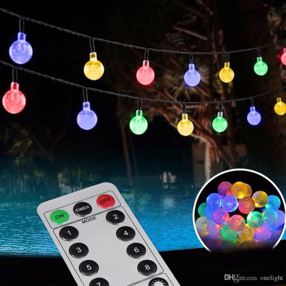 Remote Control 30 Led Outdoor String Lights Bubble Beads 8 Modes Battery Powered For Christmas ...
