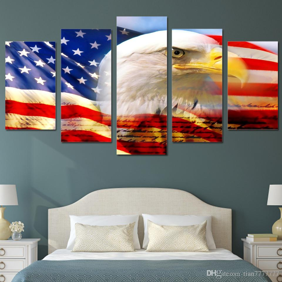 2017 New Usa Flag And Eagle Canvas Painting Modern Wall Art Print Pictures For Bedroom Home