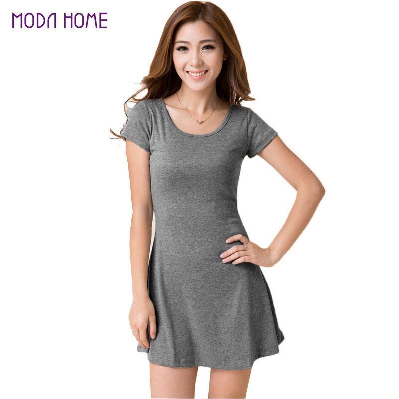 2017 Wholesale Women Summer Dress New Korean Girl Mini Dress Short ...
