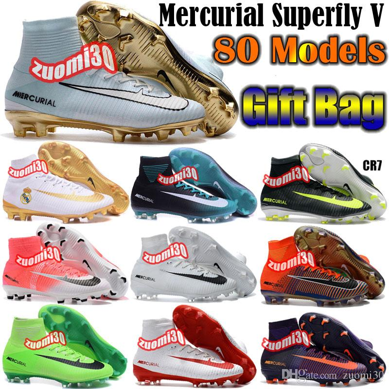 Charlin's New Mens Mercurial Superfly CR7 Soccer Cleats Magista Obra Soccer Shoes Outdoor Superfly 5 FG Football Boots Hypervenom II Cleats