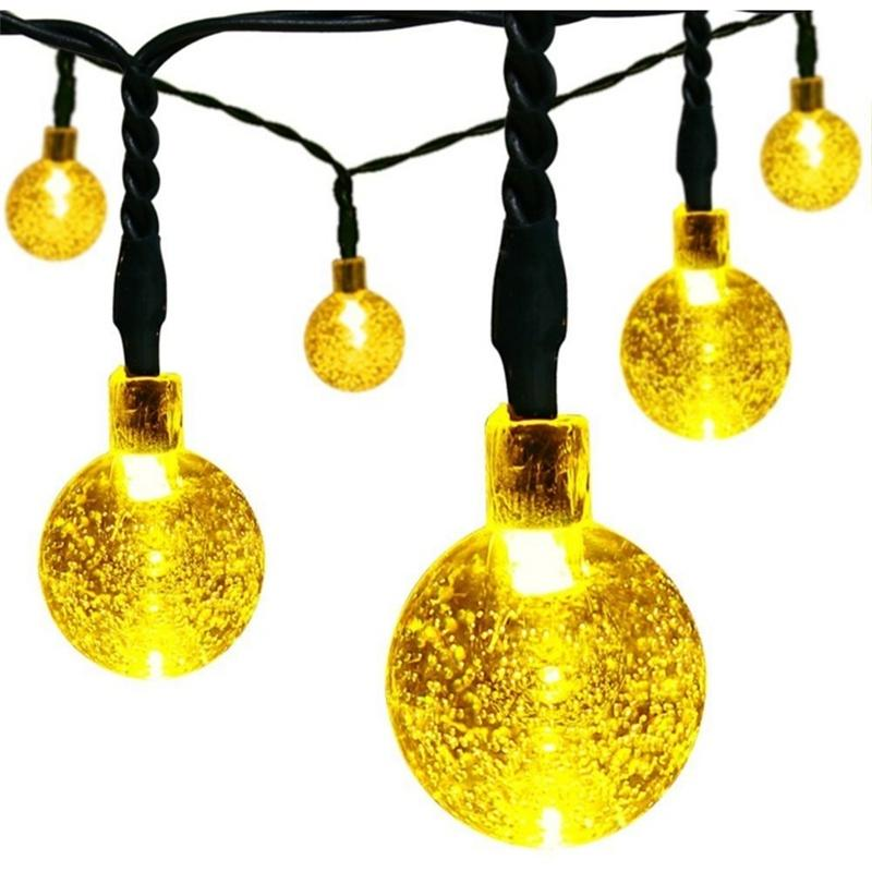 Thanksgiving String Lights Outdoor : Solar Christmas String Lights, 30 Led Ball 21ft White 8mode Waterproof Decorative Globe For ...