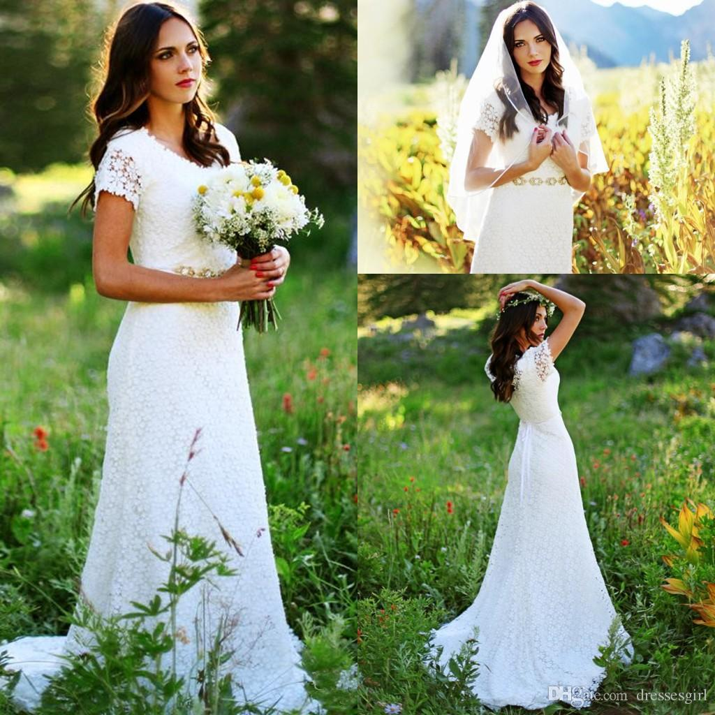 Boho 2017 Country Summer Wedding Dresses Lace Short