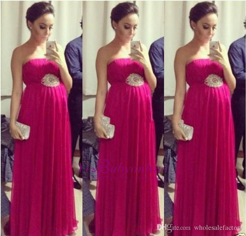 2017 summer fuchsia chiffon long evening dresses for pregnant women sexy backless pleats. Black Bedroom Furniture Sets. Home Design Ideas
