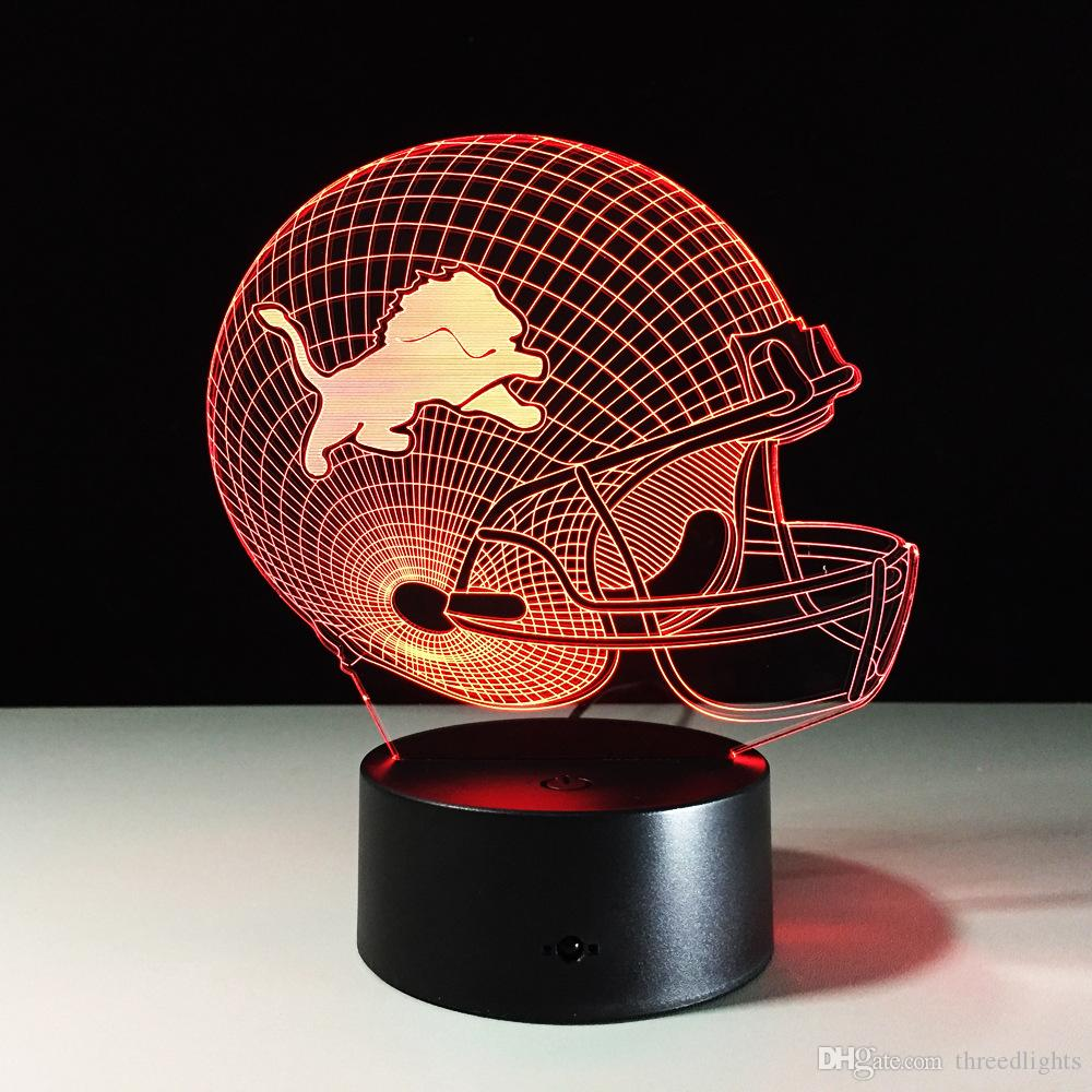 Sept couleurs changeant Detroit Lions Light 3D Visual Led Night Light USB Nouvea