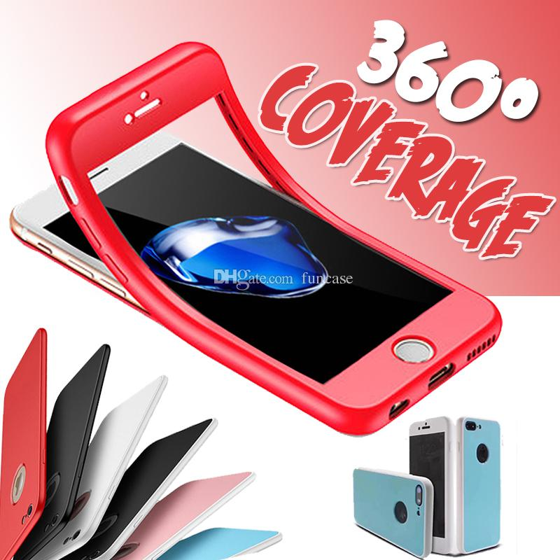 360 Degree Full Body Soft TPU Coverage Protection 2 1 Clear Tempered Glass Screen Protector Cover Case iPhone 7 Plus 6S