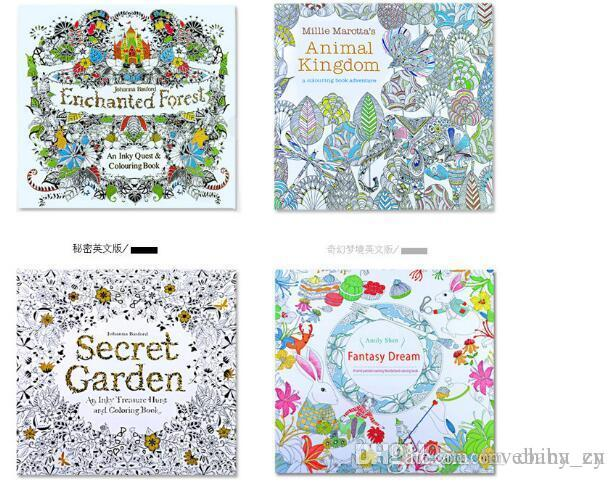 Secret Garden Coloring Book Painting Drawing 8 Theme 24 Pages Animal Kingdom Relieve Stress For Children Adult Christmas Gifts Free DHL