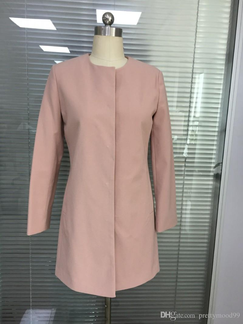 2017 In Stock Good Quality Pink Screw Collar Female Outerwear