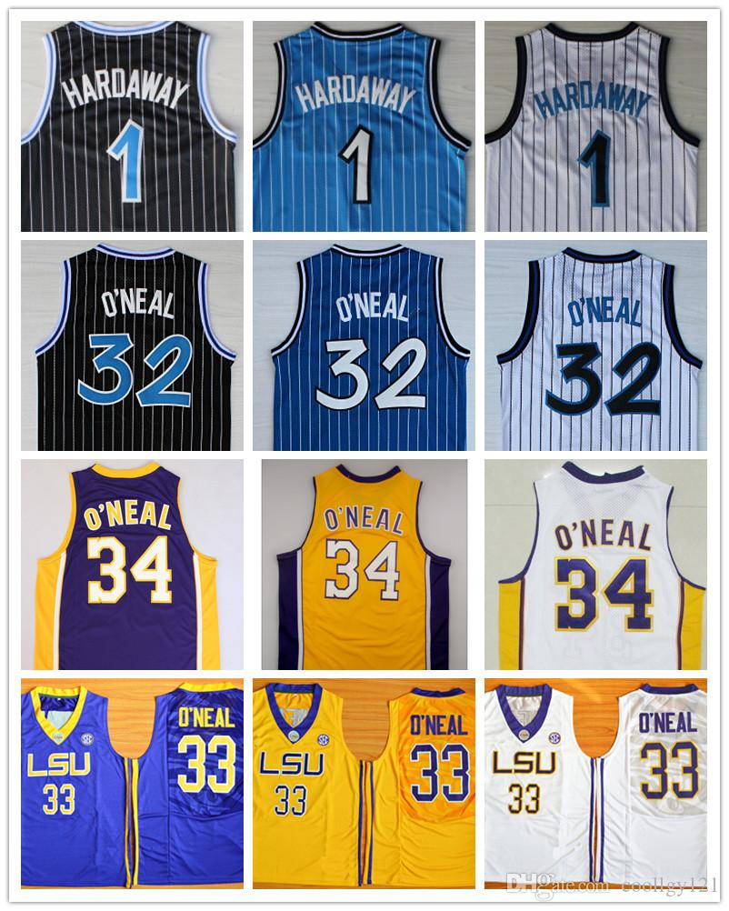 Top Quality 1 Penny Hardaway Maillot 32 Shaquille O'Neal Shaq Uniforme 34 Shaqui